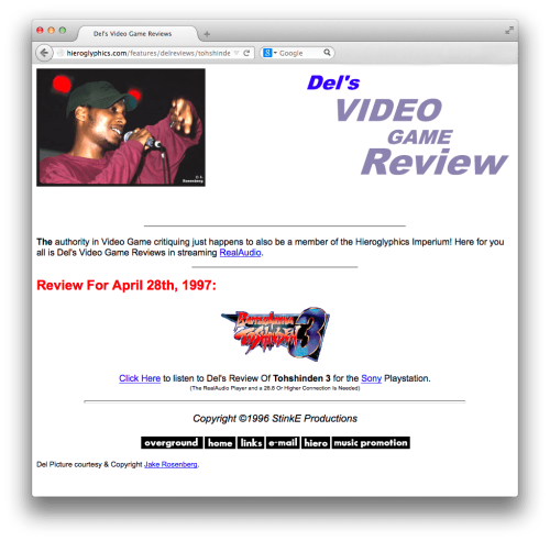 Del's Toshinden 3 review as it appeared on Hieroglyphics.com in 1997